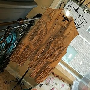 Forever 21 suede like vest with fringe size Small
